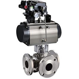 Pneumatic t-way ball valve